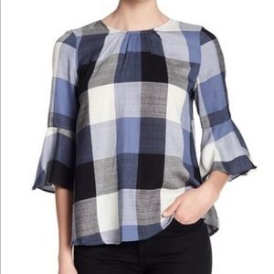 Ro De Top Blue Plaid Bow Back Blouse